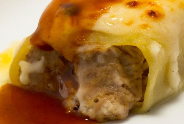 Canelón de carne de ternera y papada